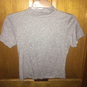Grey fitted high neck crop top